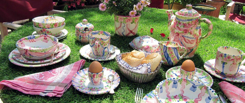 Geschirr-Familie Rosa-BluVerde von Unikat-Keramik Hernuss