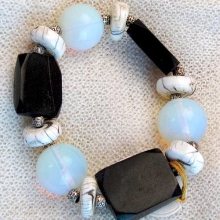 Armband mit Fluorit und Gagat
